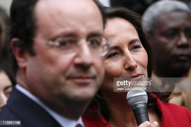 Inauguration By Segolene Royal And Francois Holland At The Socialist Party'S Headquarters For The Presidential Campaign In Paris France On January 22...