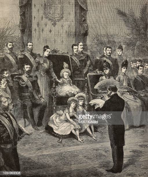 Inauguration ceremony of the Barcelona Universal Exposition King Alfonso XIII on throne with his mother Maria Christina of Austria Spain engraving by...