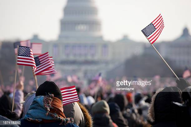 inauguration day crowds for president barack obama - president stock pictures, royalty-free photos & images
