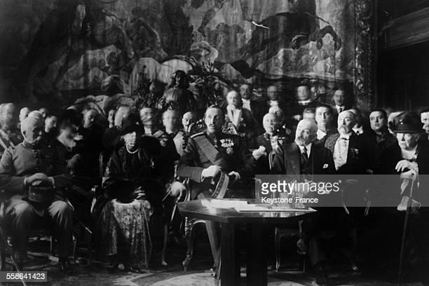 Inauguration de la Casa De Velasquez centre d'art francais en Espagne a Madrid en presence du Roi Alphonse XIII de la ReineMere Maria Cristina...