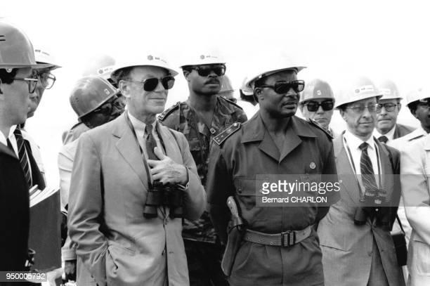 Inauguration de la plateforme pétrolère Yanga en présence d'Albin Chalandon PDG de Elf Aquitaine et de Denis Sassou Nguesso Président du Congo en...