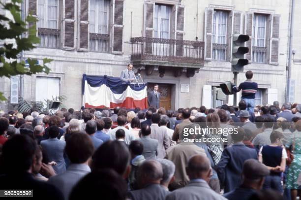Inauguration de l'avenue Georges Pompidou à Périgueux par Jacques Chirac et Yves Guéna, en Dordogne, France.