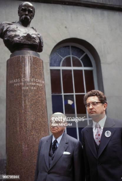 Inauguration du buste du poète ukrainien Taras Chevtchenko en sa présence le 24 mai 1978 à Paris France