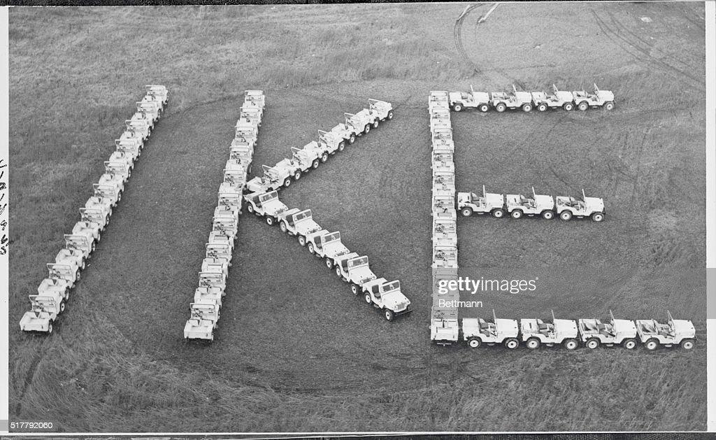 Jeeps Spelling 'IKE' : News Photo
