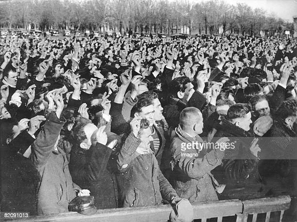 Inauguration of 70000 reservists of Belgrade's garrison The reservists swear on young king Peter II of Yugoslavia Photograph Around 1942 [Feierliche...