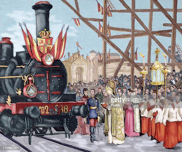 """Inauguration of a direct rail from Madrid to Ciudad Real. The Cardinal Archbishop of Toledo bless the locomotive """"Badajoz"""" , in the presence of King..."""