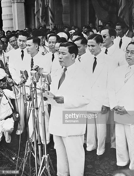 Inauguration of First President of Vietnam Republic Saigon South Vietnam Ngo Dinh Diem prime minister of Vietnam is shown as he took the oath of...