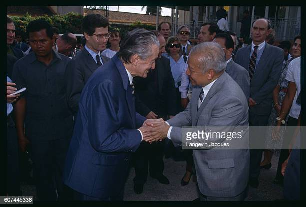 Inauguration of Napoleon III Pavilion in the Royal Palace with French Statesman Roland Dumas and Prince Sihanouk