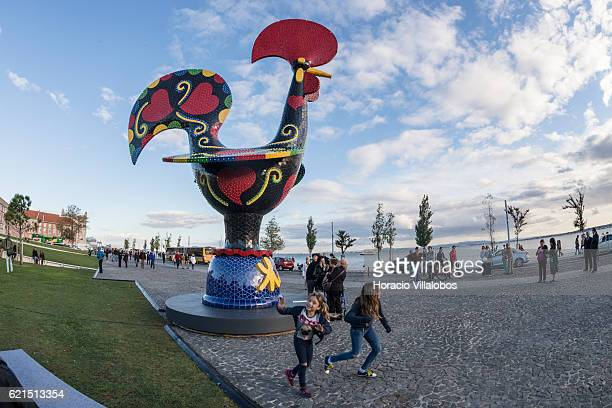 Inauguration of Pop Galo, a public art work of Portuguese artist Joana Vasconcelos, inspired by the iconic 'Galo de Barcelos' , that combines...