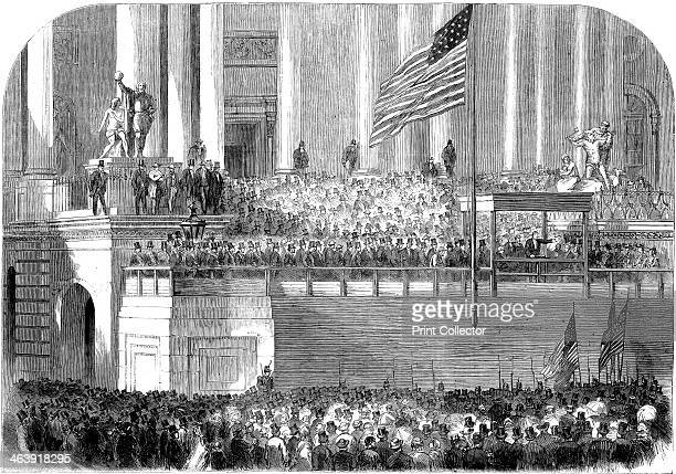 Inauguration of President Lincoln Washington DC 4 March 1861 Abraham Lincoln delivering his inaugural address as President in front of the Capitol