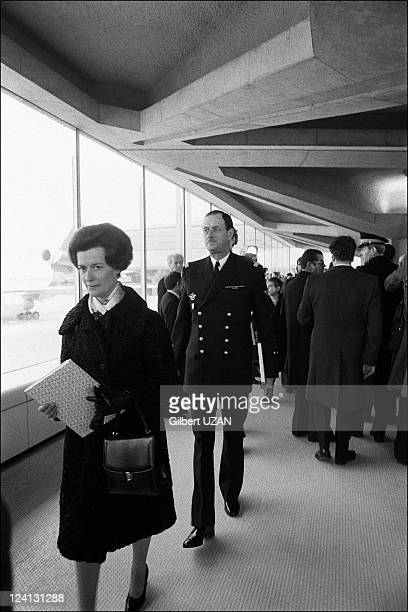 Inauguration of Roissy Charles de Gaulle airport in Roissy France on March 08 1974 MrsBoissieu Alain and Admiral Philippe de Gaulle