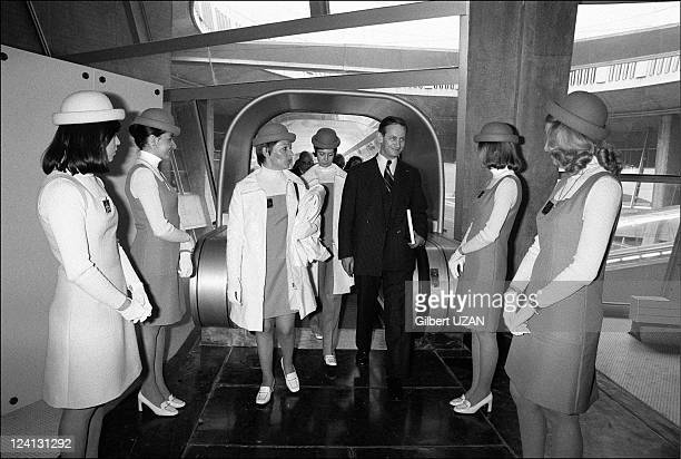 Inauguration of Roissy Charles de Gaulle airport in Roissy France on March 08 1974 Minister of Defense Robert Galley tries the running tunnels