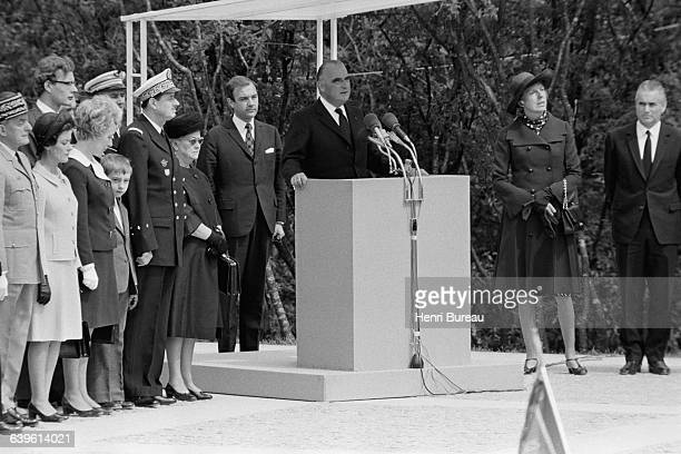 Inauguration of the memorial in honor of former French President General Charles de Gaulle by French President Georges Pompidou at...