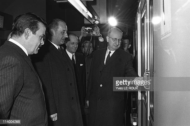 Inauguration of the RER between Etoile and La Defense in Paris France on February 20 1970Jacques Baumel with Mondon Doublet Diebolt Boitel