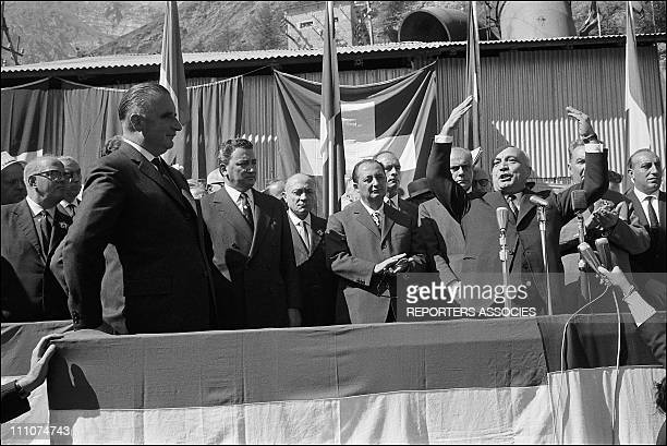 Inauguration of the tunnel between chamonix Mont Blanc and courmayeur PM Georges Pompidou with his Italian counterpart Amintore Fanfani on the day of...