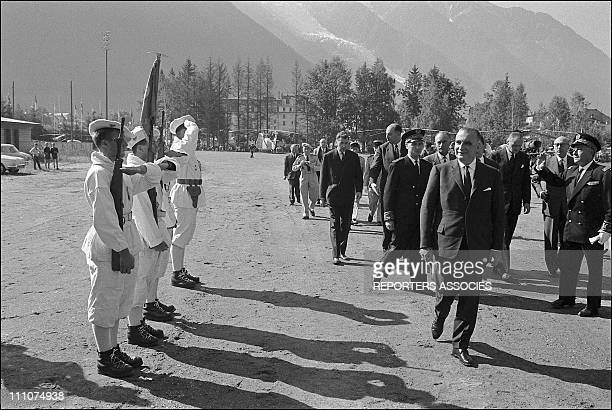 Inauguration of the tunnel between chamonix Mont Blanc and courmayeur PM Georges Pompidou in France on September 15th 1962