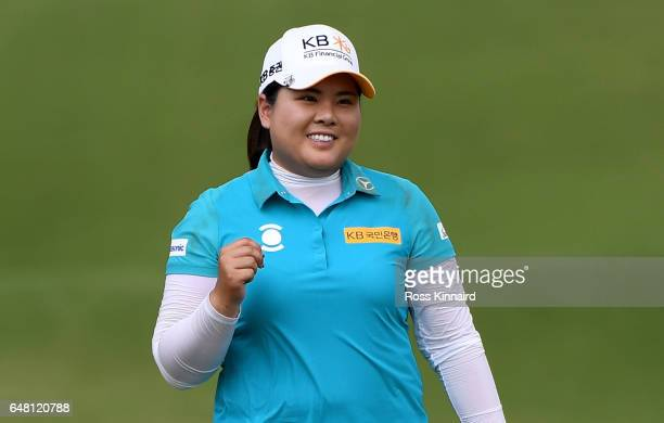 Inbee Park of Korea celebrates on the 18th green during the final round of the HSBC Women's Champions on the Tanjong course at Sentosa Golf Club on...