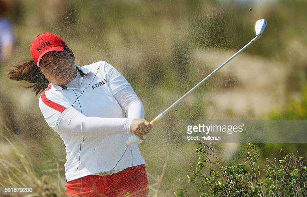 Inbee Park of Korea hits a shot from the waste area on the tenth hole during the second round of the Women's Individual Stroke Play golf on Day 13 of...