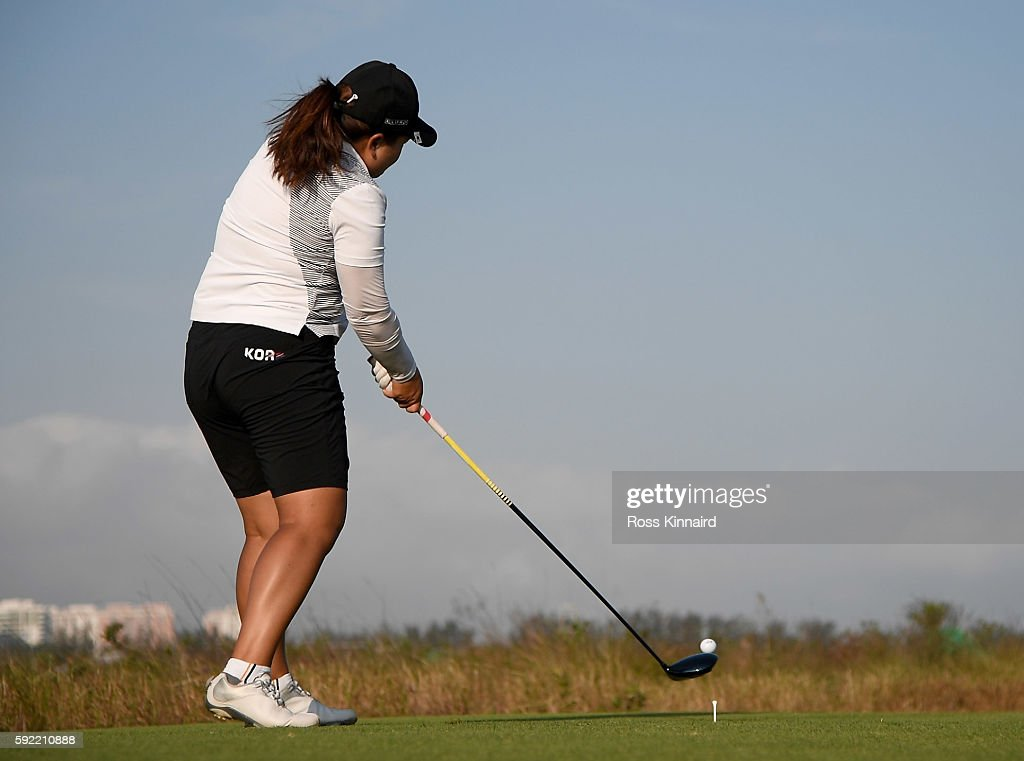 Inbee Park of Korea on the 18th tee during the third round of the Women's Individual Stroke Play golf on day 14 of the Rio Olympics at the Olympic Golf Course on August 19, 2016 in Rio de Janeiro, Brazil.