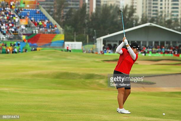 Inbee Park of Korea plays a shot on the 18th hole during the Women's Golf Final on Day 15 of the Rio 2016 Olympic Games at the Olympic Golf Course on...