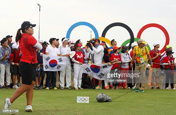 Inbee Park of Korea plays her shot from the 17th tee during the Women's Golf Final on Day 15 of the Rio 2016 Olympic Games at the Olympic Golf Course...