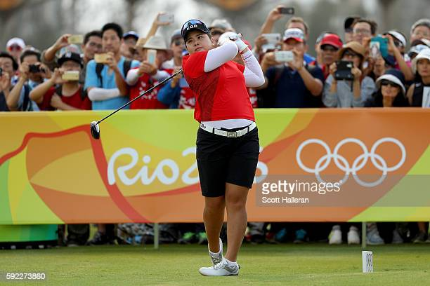Inbee Park of Korea plays her shot from the first tee during the Women's Golf Final on Day 15 of the Rio 2016 Olympic Games at the Olympic Golf...