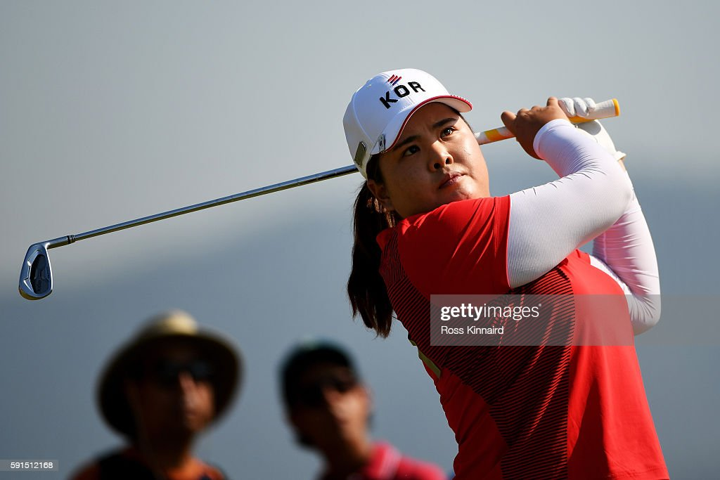 Inbee Park of Korea plays her shot from the fourth tee during the First Round of Women's Golf on Day 12 of the Rio 2016 Olympic Games at Olympic Golf Course on August 17, 2016 in Rio de Janeiro, Brazil.