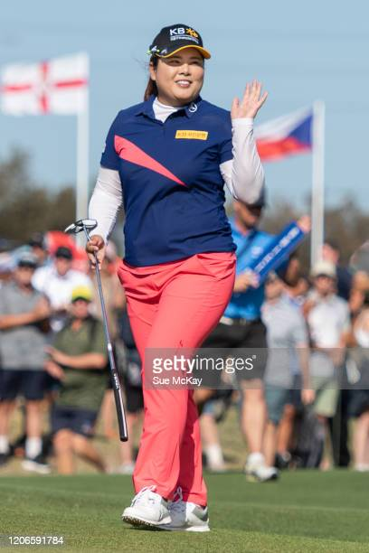 Inbee Park of Korea waves to the crowd as she heads towards the 18th green as winner during day four of the 2020 ISPS HANDA Women's Australian Open...