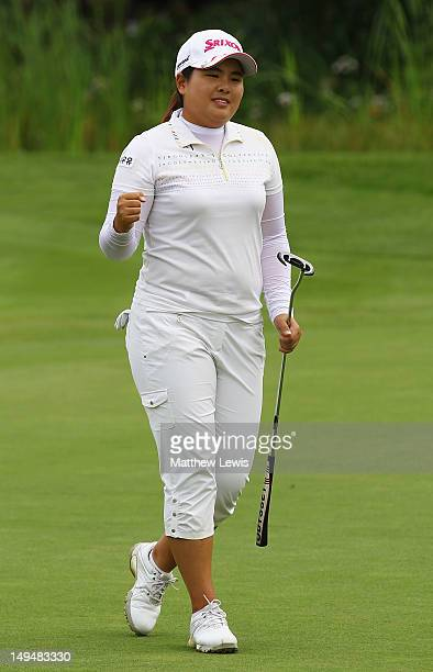 Inbee Park of South Korea celebrates her putt on the 18th green to win the Evian Masters at the Evian Masters Golf Club on July 29 2012 in...
