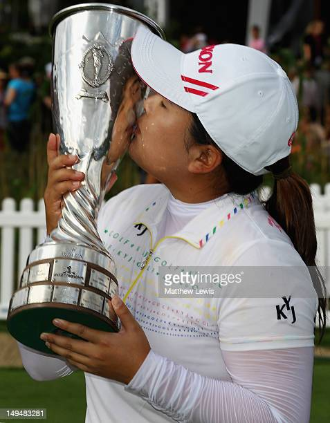 Inbee Park of South Korea celebrates winning the Evian Masters at the Evian Masters Golf Club on July 29 2012 in EvianlesBains France