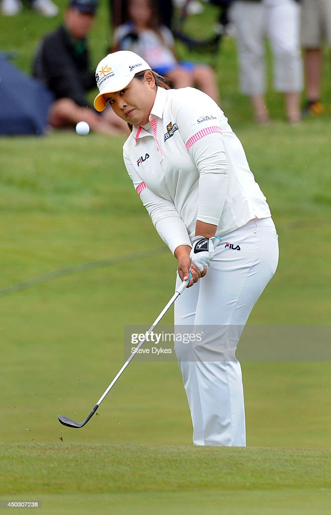 Inbee Park of South Korea hits a chip shot on the 18th green during the final round of the Manulife Financial LPGA Classic at the Grey Silo Golf Course on June 8, 2014 in Waterloo, Ontario, Canada.