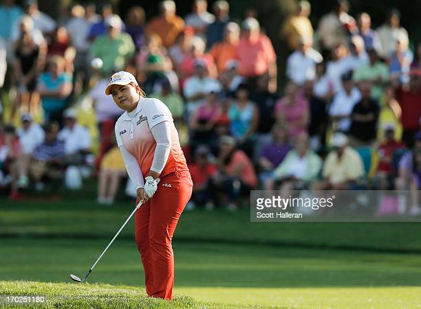 Inbee Park of South Korea hits a pitch shot on the 17th hole during the final round of the Wegmans LPGA Championship at Locust Hill Country Club on...