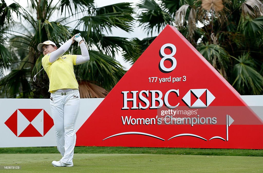 Inbee Park of South Korea hits a shot during a practice round prior to the start of the HSBC Women's Champions at the Sentosa Golf Club on February 26, 2013 in Singapore, Singapore.