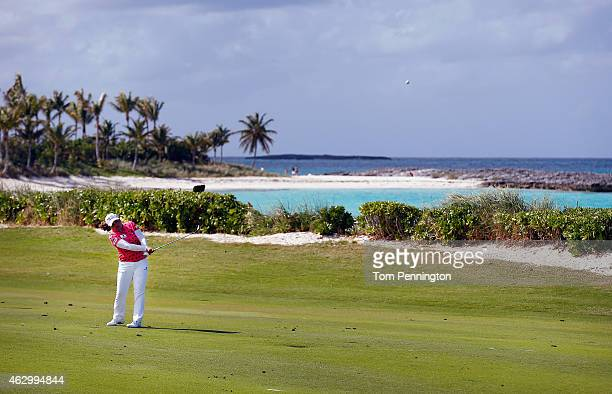 Inbee Park of South Korea hits a shot on the eighth hole during the final round of the Pure Silk Bahamas LPGA Classic at the Ocean Club course on...