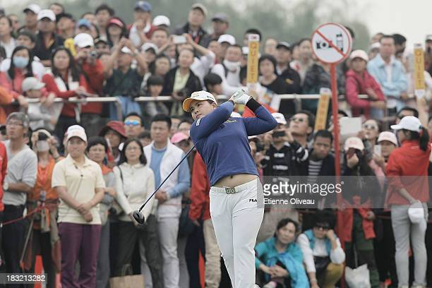 Inbee Park of South Korea hits a tee shot during the final round of the Reignwood LPGA Classic at Pine Valley Golf Club on October 6 2013 in Beijing...