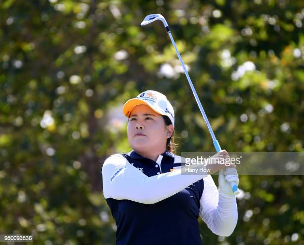 Inbee Park of South Korea hits a tee shot on the seventh hole during round four of the HugelJTBC Championship at the Wilshire Country Club on April...