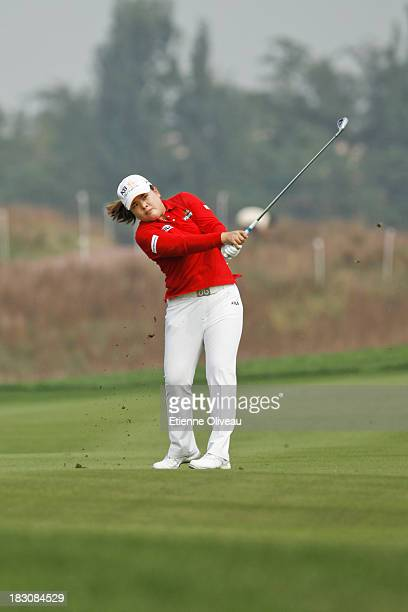 Inbee Park of South Korea hits an approach shot during the second round of the Reignwood LPGA Classic at Pine Valley Golf Club on October 4 2013 in...