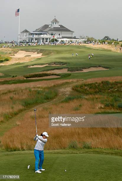Inbee Park of South Korea hits her shot on the second hole during the second round of the 2013 US Women's Open at Sebonack Golf Club on June 28 2013...