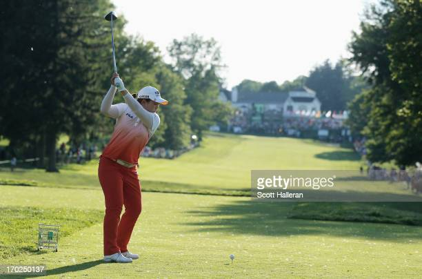 Inbee Park of South Korea hits her tee shot on the 18th hole during the final round of the Wegmans LPGA Championship at Locust Hill Country Club on...