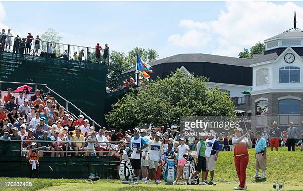 Inbee Park of South Korea hits her tee shot on the first hole during the final round of the Wegmans LPGA Championship at Locust Hill Country Club on...