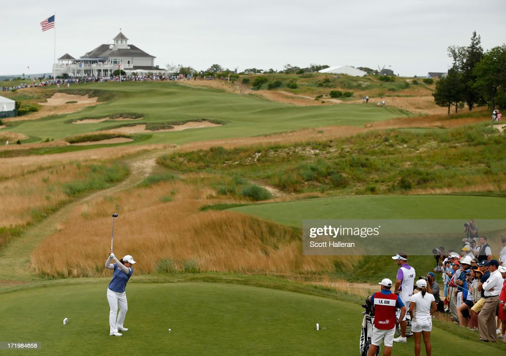 Inbee Park of South Korea hits her tee shot on the second hole during the final round of the 2013 U.S. Women's Open at Sebonack Golf Club on June 30, 2013 in Southampton, New York.