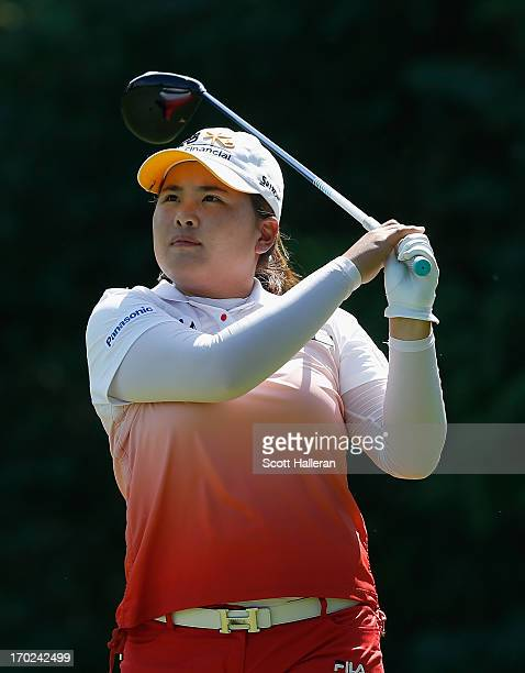 Inbee Park of South Korea hits her tee shot on the sixth hole during the final round of the Wegmans LPGA Championship at Locust Hill Country Club on...