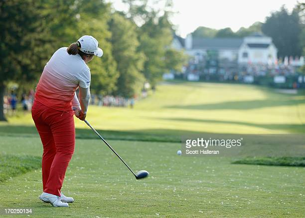 Inbee Park of South Korea hits her tee shot on the third playoff hole during the final round of the Wegmans LPGA Championship at Locust Hill Country...