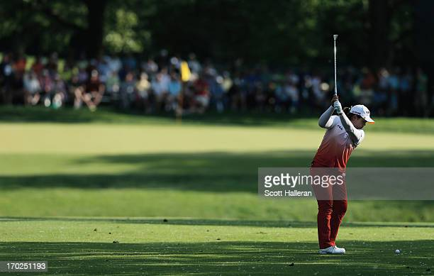 Inbee Park of South Korea hits her third shot on the 14th hole during the final round of the Wegmans LPGA Championship at Locust Hill Country Club on...