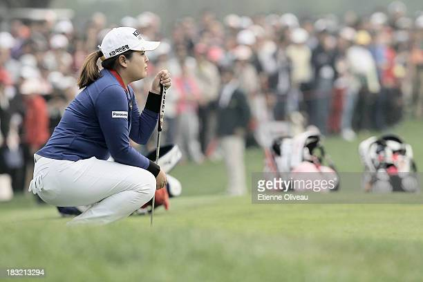 Inbee Park of South Korea lines up a putt during the final round of the Reignwood LPGA Classic at Pine Valley Golf Club on October 6 2013 in Beijing...