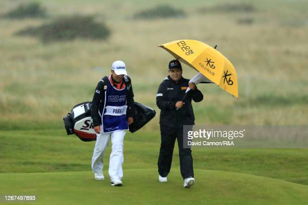 Inbee Park of South Korea makes her way down the 6th alongside caddie Gi Hyeob Nam during Day Two of the AIG Women's Open 2020 at Royal Troon on...