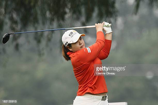 Inbee Park of South Korea plays a tee shot during the third round of the Reignwood LPGA Classic at Pine Valley Golf Club on October 5 2013 in Beijing...