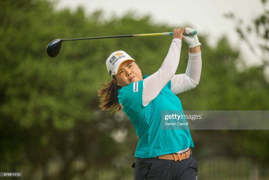 Inbee Park of South Korea plays her tee shot at the second hole during the third round of the Volunteers of America North Texas Shootout at Las Colinas Country Club on April 29, 2017 in Irving, Texas.