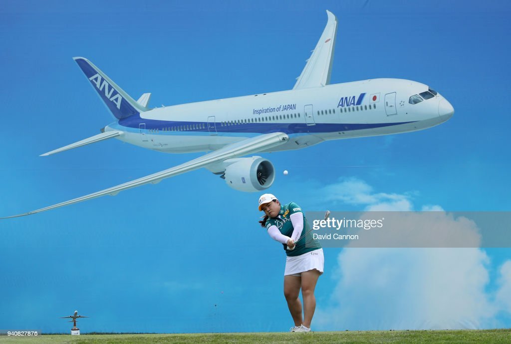 Inbee Park of South Korea plays her tee shot on the eighth hole during the final round of the 2018 ANA Inspiration on the Dinah Shore Tournament Course at the Mission Hills CC on April 1, 2018 in Rancho Mirage, California.