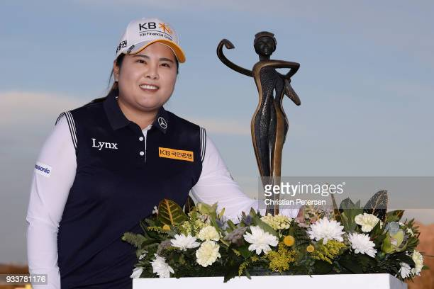 Inbee Park of South Korea poses with the trophy after winning the Bank Of Hope Founders Cup at Wildfire Golf Club on March 18 2018 in Phoenix Arizona